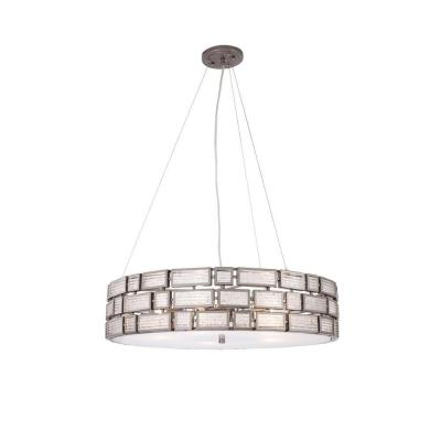Harlowe 3-Light New Bronze Pendant with Textured Ice Glass