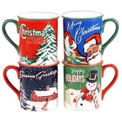 Retro Christmas 16 oz. Mug (Set of 4)