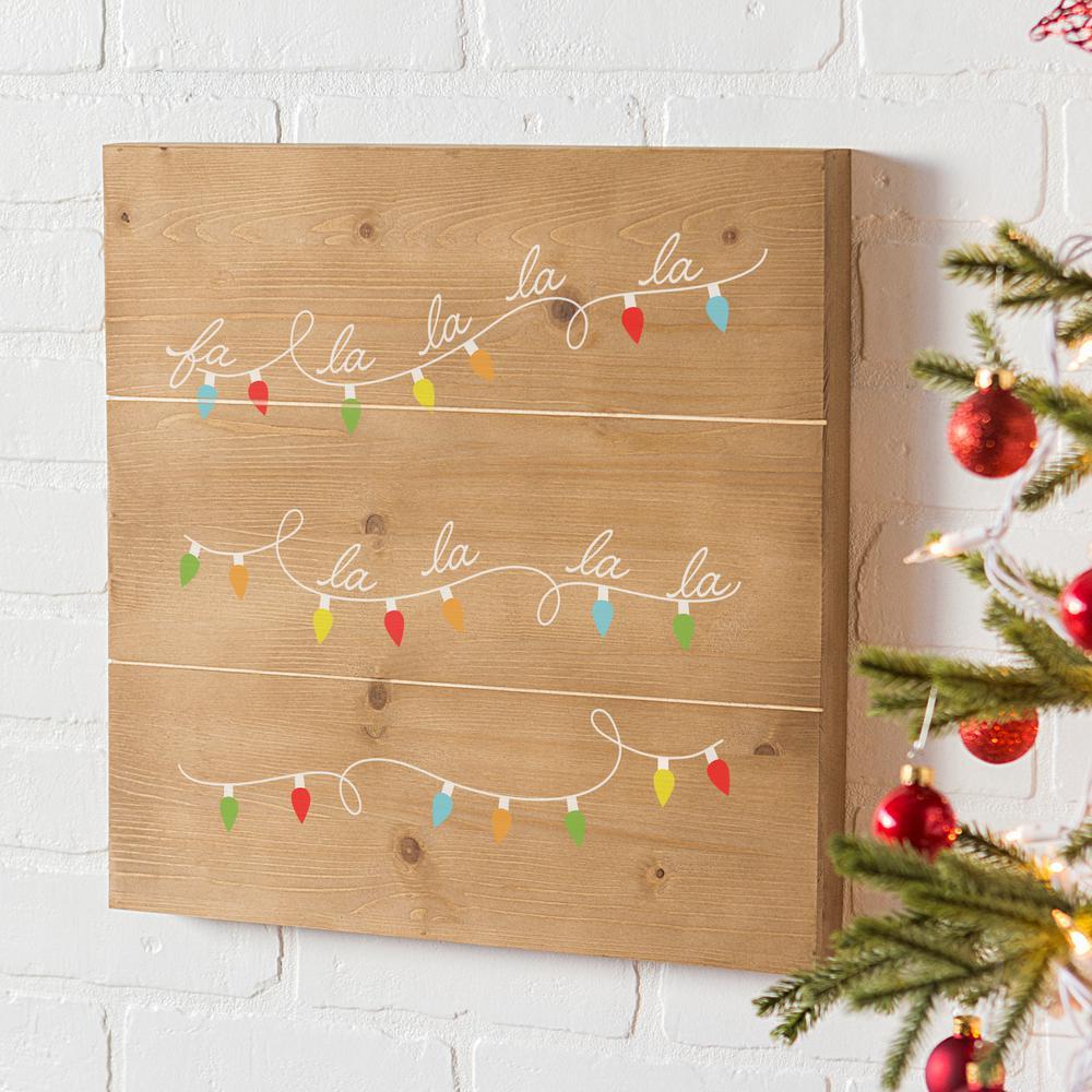 fa la la christmas wooden wall art