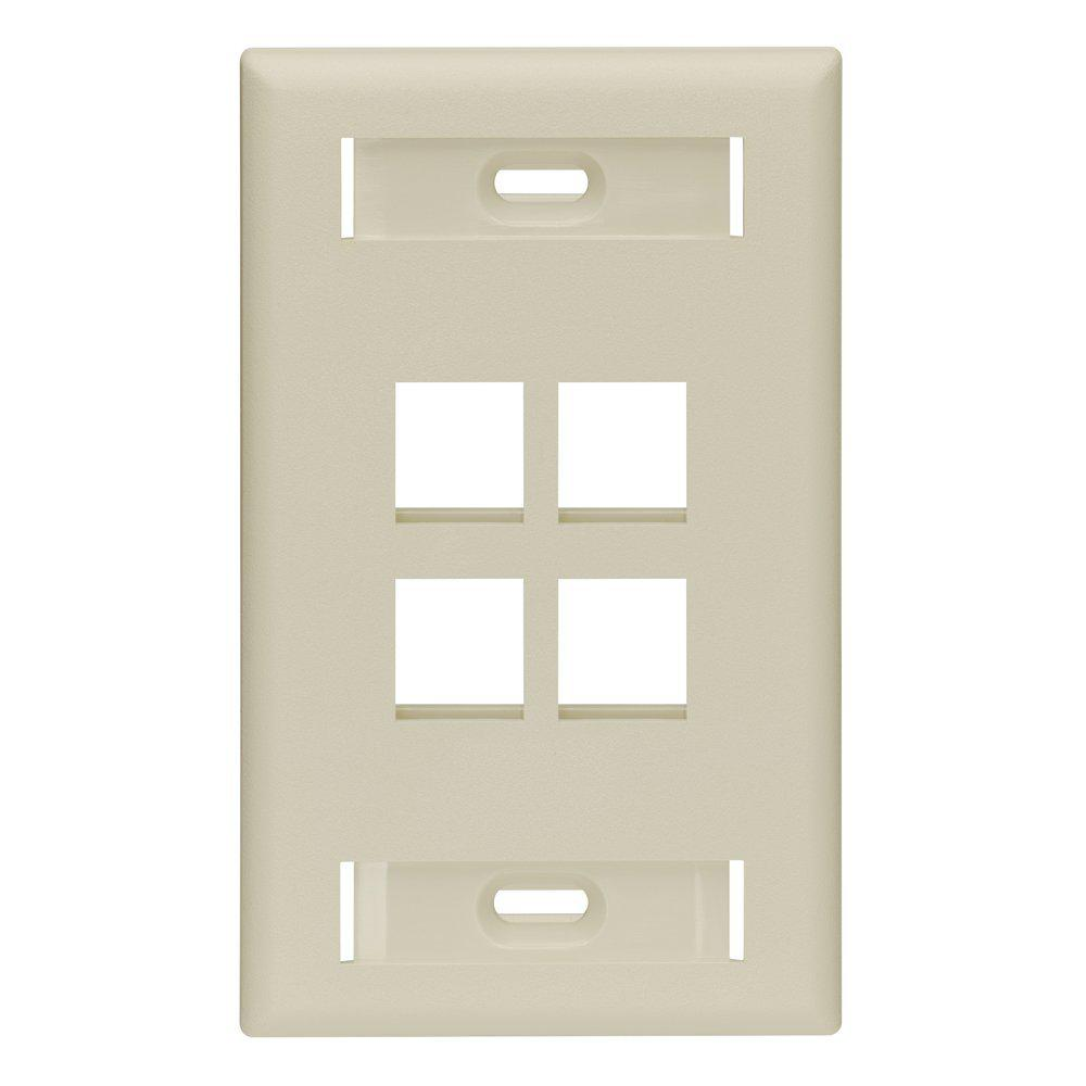 1-Gang Quickport Standard Size 4-Port Wallplate with ID Windows, Ivory
