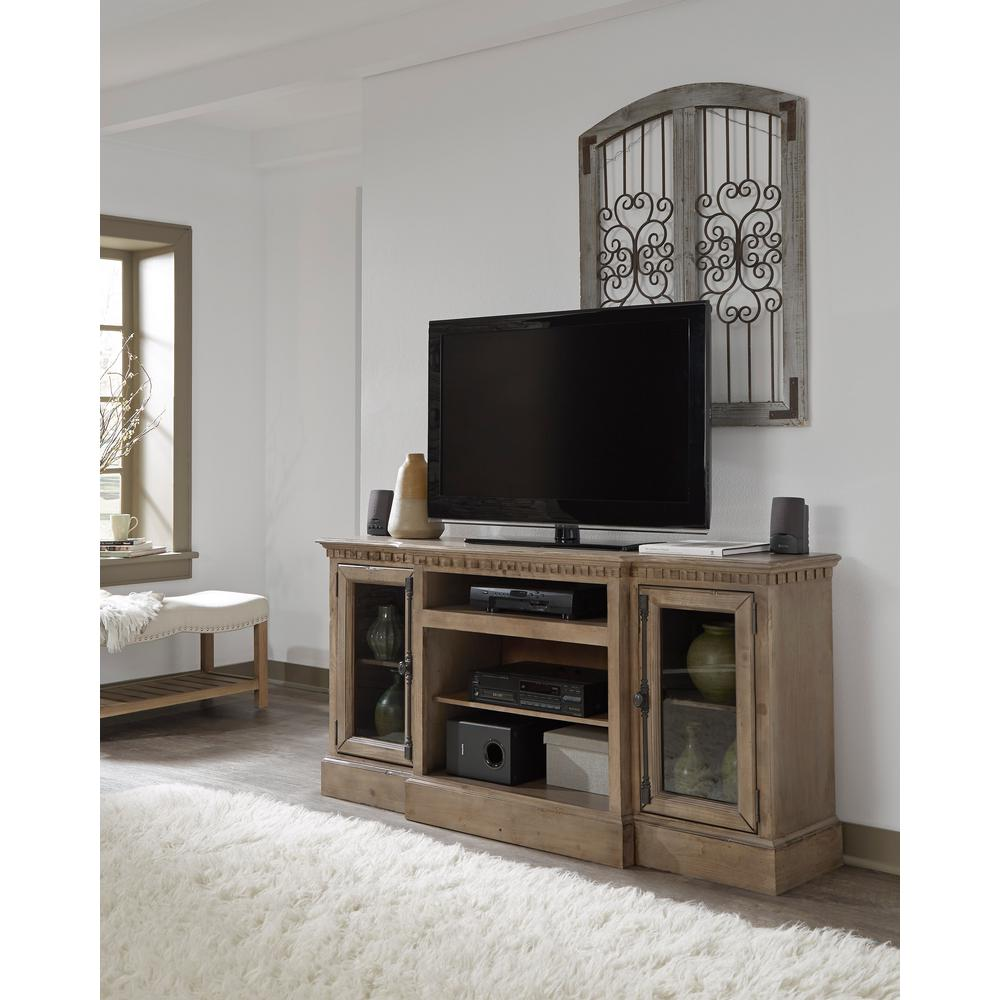 Andover Court 64 in. Antique Mist Wood TV Stand Fits TVs Up to 70 in. with Storage Doors
