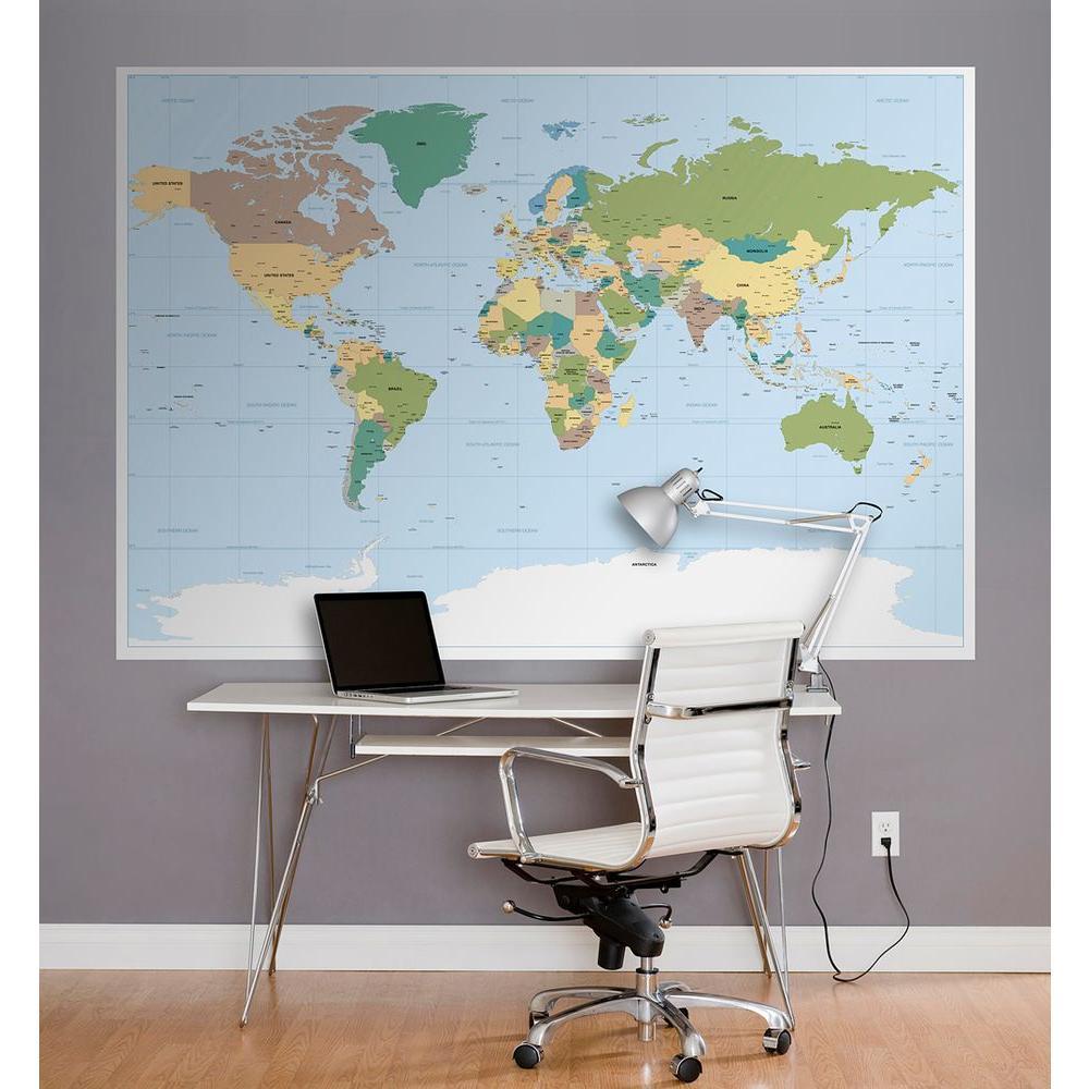 50 in. x 72 in Worldmap Wall Mural