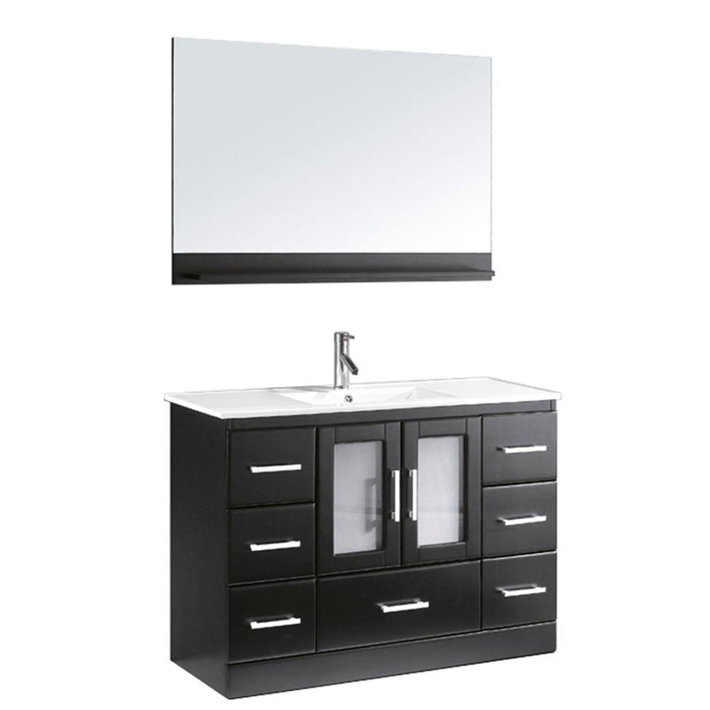 Virtu USA Zola 47.7 in. W x 18 in. D Vanity in Espresso with Ceramic Vanity Top in White with White Basin and Mirror