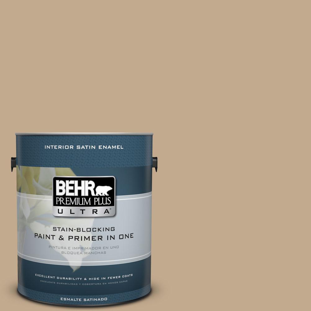 1-gal. #BXC-07 Palomino Tan Satin Enamel Interior Paint