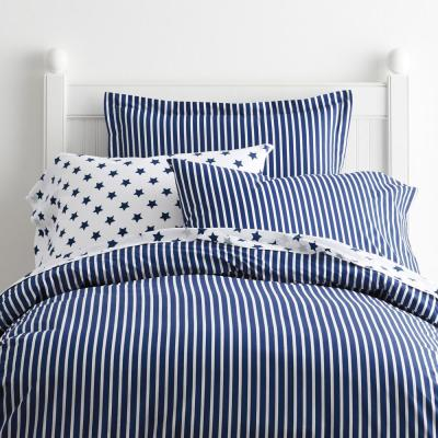 Aiden Stripe Blue Tide Cotton Percale Full Duvet Cover