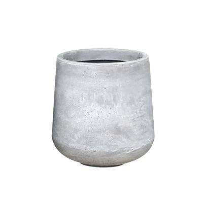Medium 13 in. x 13 in. x 13.4 in. Light Gray Lightweight Concrete Footed Tulip Planter