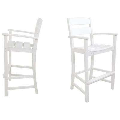 Classics White 2-Piece Plastic Outdoor Patio Bar Arm Chair Set