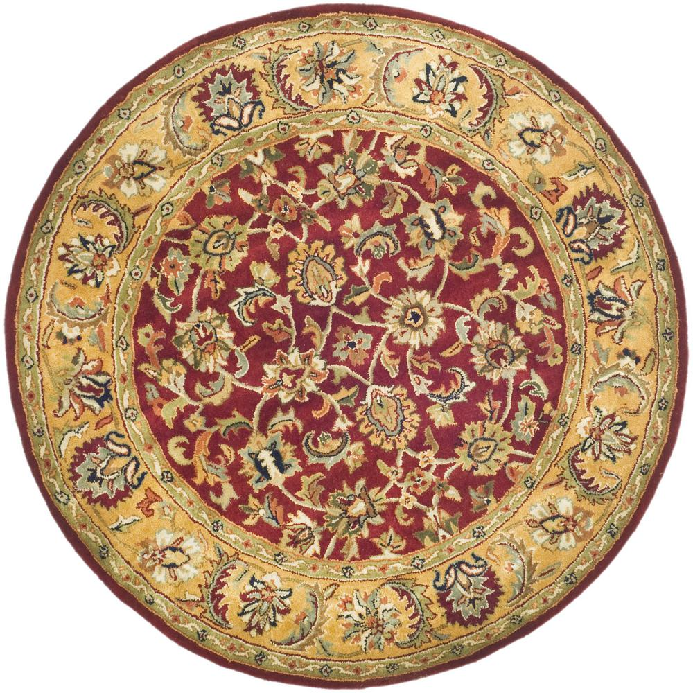 Safavieh Classic Red Gold 5 Ft X 5 Ft Round Area Rug Cl758c 5r