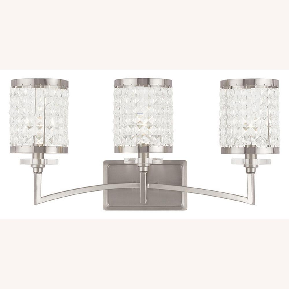 polished nickel bathroom lights livex lighting grammercy 3 light brushed nickel bath light 20021