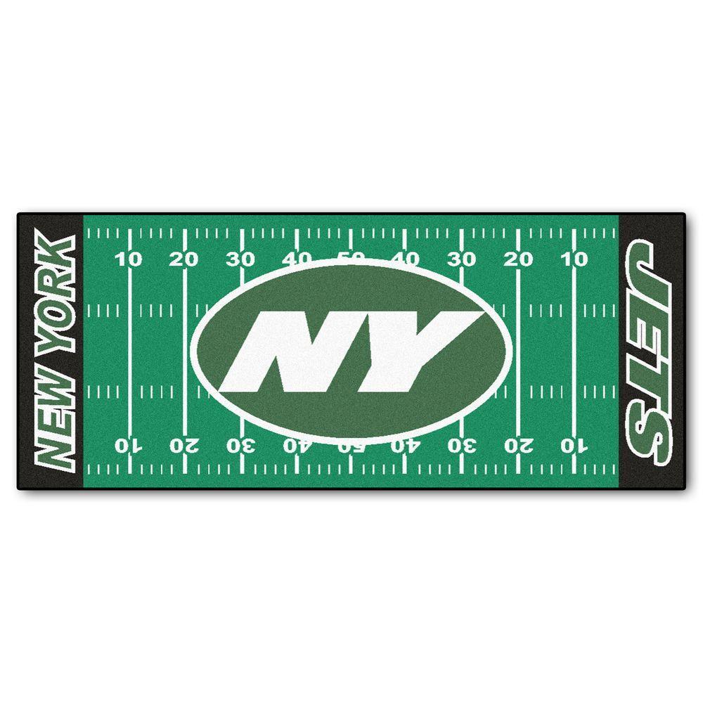 New York Jets 3 ft. x 6 ft. Football Field Rug Runner Rug