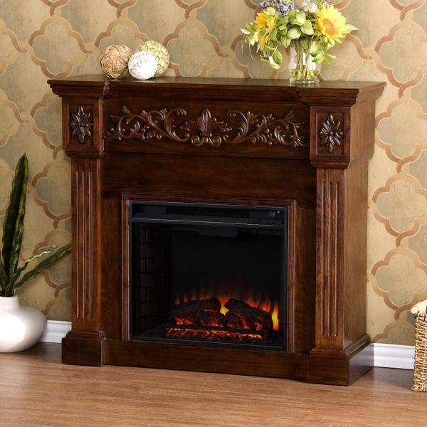 Dunkirk 44.5 in. W Carved Electric Fireplace in Espresso