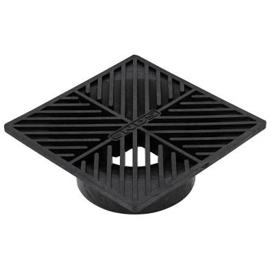6 in. Plastic Square Drainage Grate in Black