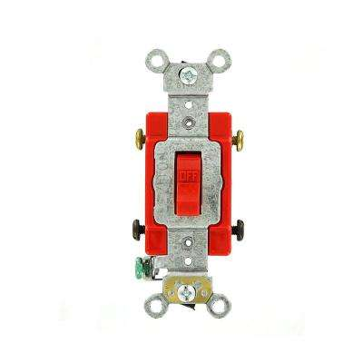 20 Amp Industrial Grade Heavy Duty Double-Pole Toggle Switch, Red