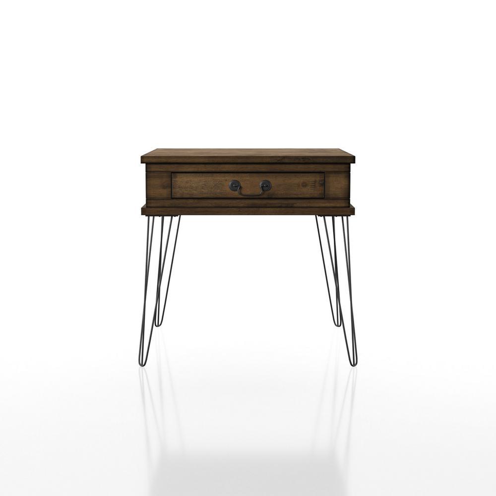 Amande Rustic Oak 1-Drawer End Table