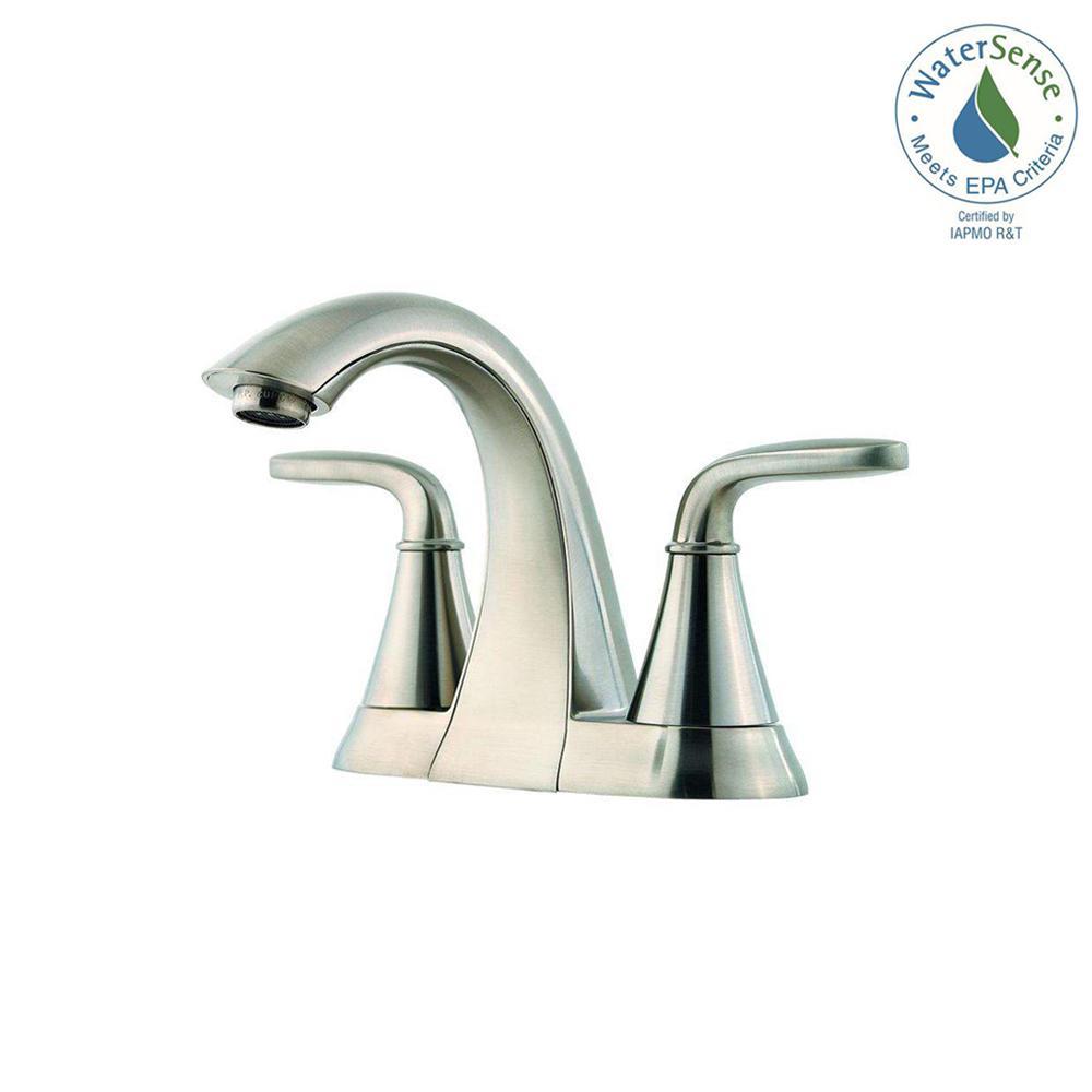 Pasadena 4 in. Centerset 2-Handle Bathroom Faucet in Brushed Nickel