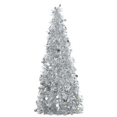 18 in. Silver Tinsel Tree Centerpiece (2-Pack)