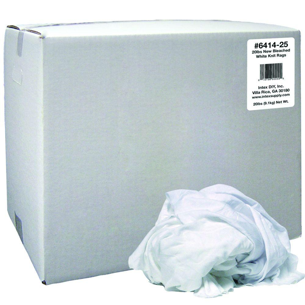 null 20 lbs. New Bleached White Knit Rags Box