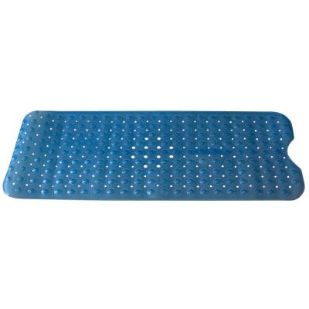 Blue Plastic Bath Mat Extra Long Contour U Shape Front  16.10 in x 39 in Bath Mat