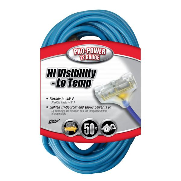 50/' 12 Gauge Cold Weather Extension Cord w Lighted Triple Outlet MADE IN USA