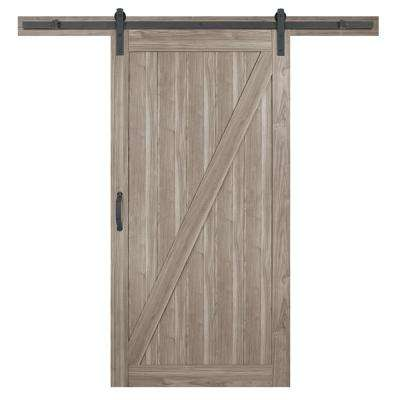 42 in. x 84 in. Z-Bar Ash Gray Interior Sliding Barn Door Slab with Hardware Kit