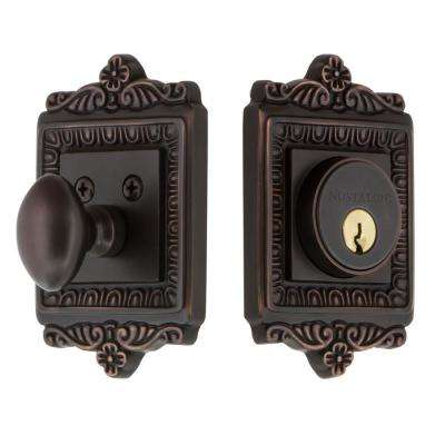Egg and Dart Plate 2-3/4 in. Timeless Bronze Backset Single Cylinder Deadbolt