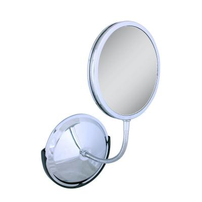 Tri-Vision 7 in. W x 7 in. H Framed Circle Bathroom Vanity Mirror in Chrome