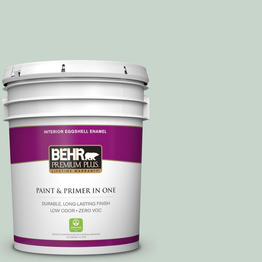 BEHR Premium Plus 5-gal. #460E-2 Valley Mist Zero VOC Eggshell Enamel Interior Paint