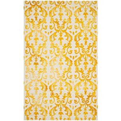 Dip Dye Ivory/Gold 5 ft. x 8 ft. Area Rug