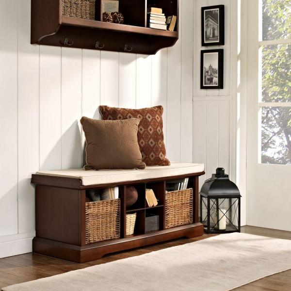 Crosley Brennan Entryway Storage Bench In Mahogany Cf6003 Ma The Home Depot,Wall Paint Design Ideas With Tape