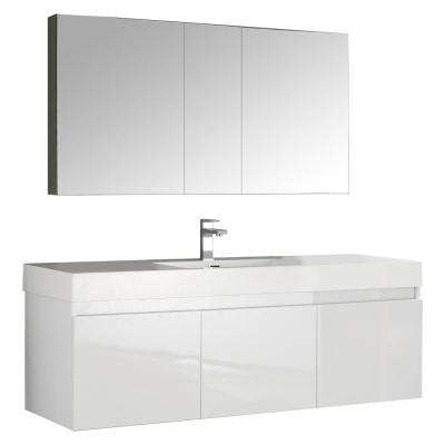 Mezzo 59 in. Vanity in White with Acrylic Vanity Top in White with White Basin and Mirrored Medicine Cabinet