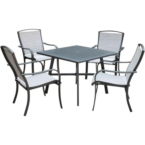 Foxhill 5-Piece Commercial Aluminum Outdoor Dining Set with 4-Sunbrella Sling Dining Chairs and a 38 in. Slat-Top Table