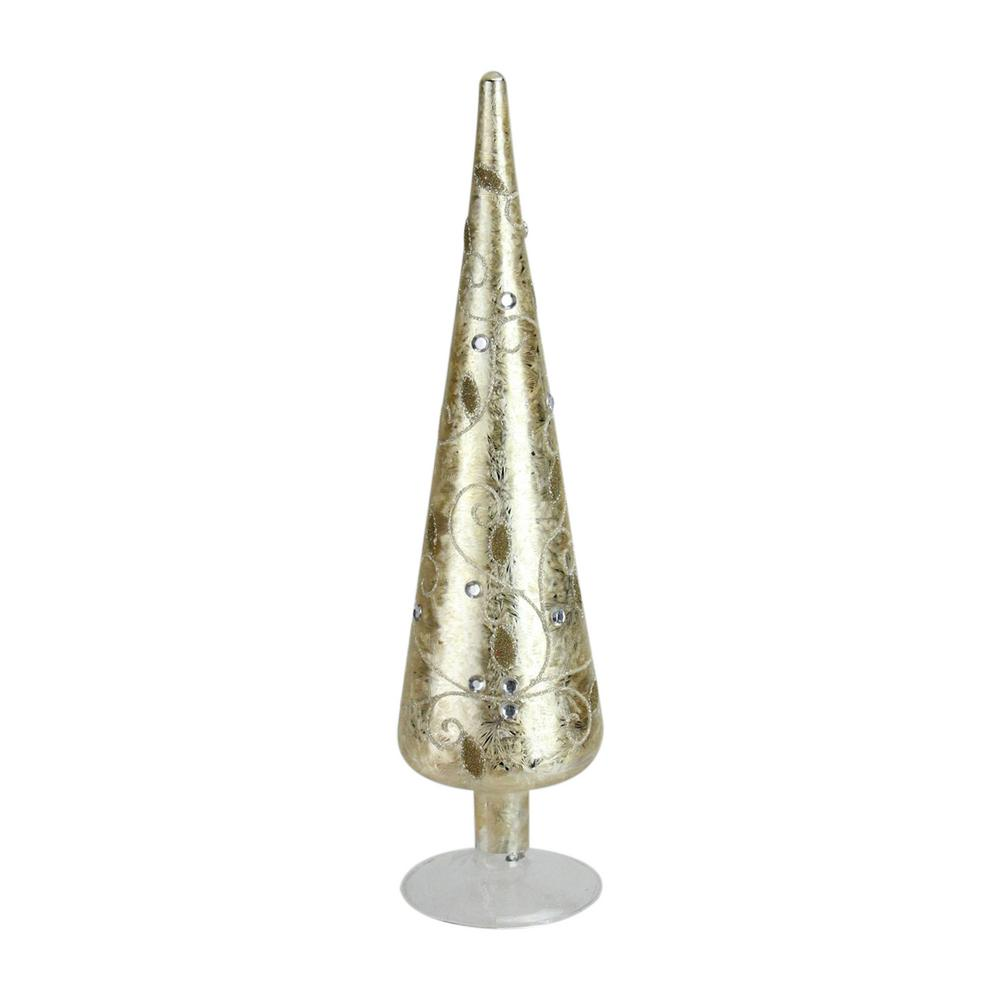 15 in. Iced Gold Glitter and Gemstone Glass Christmas Cone Tree