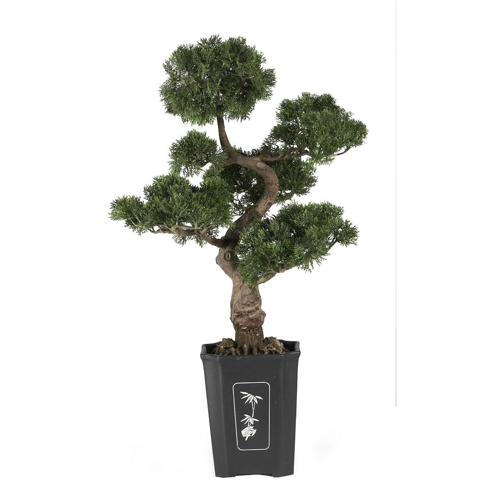 Nearly Natural 36 in. Cedar Bonsai Silk Plant This mesmerizing three. tall Cedar bonsai makes a wonderful addition to any home, office, or business decor. Experience the beautifully handcrafted artwork of an authentic looking tree without all the effort. With lush green leaves and a highly detailed trunk, this tree is sure to leave a lasting impression on guests.