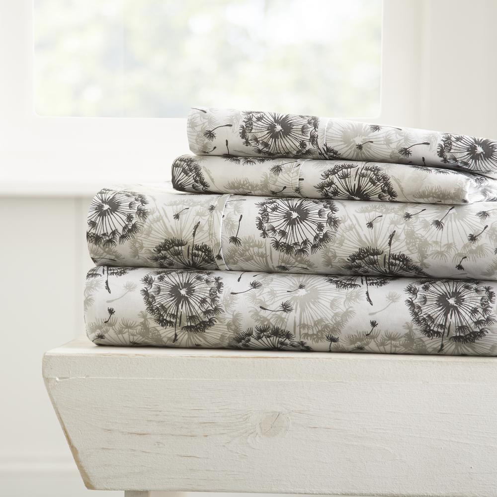4-Piece Gray Floral Microfiber California King Sheet Set