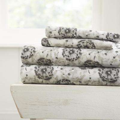 Make a Wish Patterned 4-Piece Gray California King Performance Bed Sheet Set
