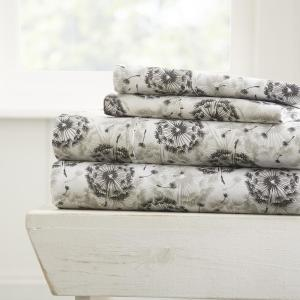 Make a Wish Patterned 4-Piece Gray Queen Performance Bed Sheet Set