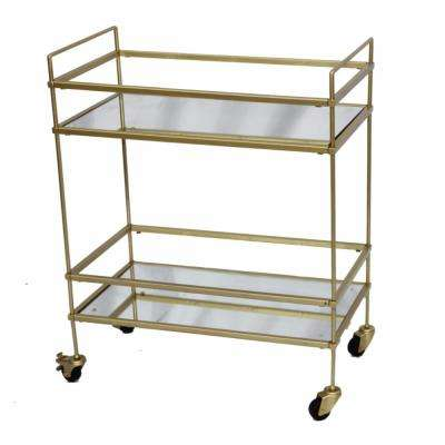 Gold Bar Wine Tea Serving Cart With 2-Tempered Glass Shelves