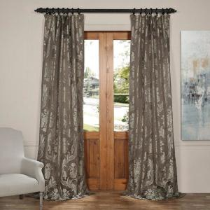 Exclusive Fabrics & Furnishings Magdelena Slate and Silver Faux Silk Jacquard Curtain Panel - 50 inch W x 84 inch L by Exclusive Fabrics & Furnishings