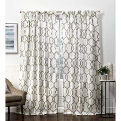 Kochi Natural Room Darkening Triple Pinch Pleat Top Curtain Panel - 27 in. W x 84 in. L (2-Panel)