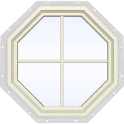 23.5 in. x 23.5 in. V-4500 Series Fixed Octagon Vinyl Window with Grids - Yellow
