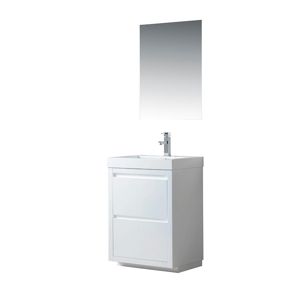 Annecy 24 in. W x 18.5 in. D x 32 in. H Bathroom Vanity in White with Single Basin Vanity Top in White Resin