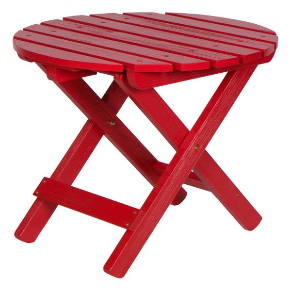 19.5 in. Tall Chili Red HYDRO-TEX Finish Round Cedar Wood Adirondack Outdoor Folding Side Table