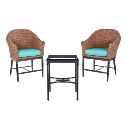 Camden Light Brown 3-Piece Wicker Outdoor Patio Balcony Height Bistro Set with CushionGuard Seaglass Turquoise Cushions