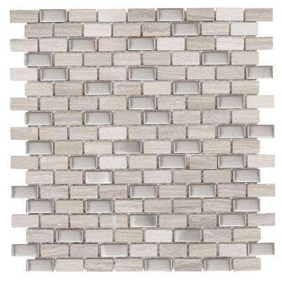 Brick Boulevard 11.25 in. x 11.875 in. x 8 mm Stone Stainless Mosaic Wall Tile