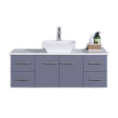 Totti Wave 48 in. W x 21 in. D x 22 in. H Vanity in Gray with Glassos Vanity Top in White with White Basin