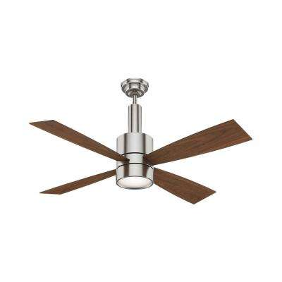 Bullet 54 in. Integrated LED Indoor Brushed Nickel Ceiling Fan with Light and Wall Control