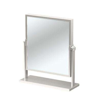 12 in. x 9.75 in. Single Elegant Table Makeup Mirror in Satin Nickel
