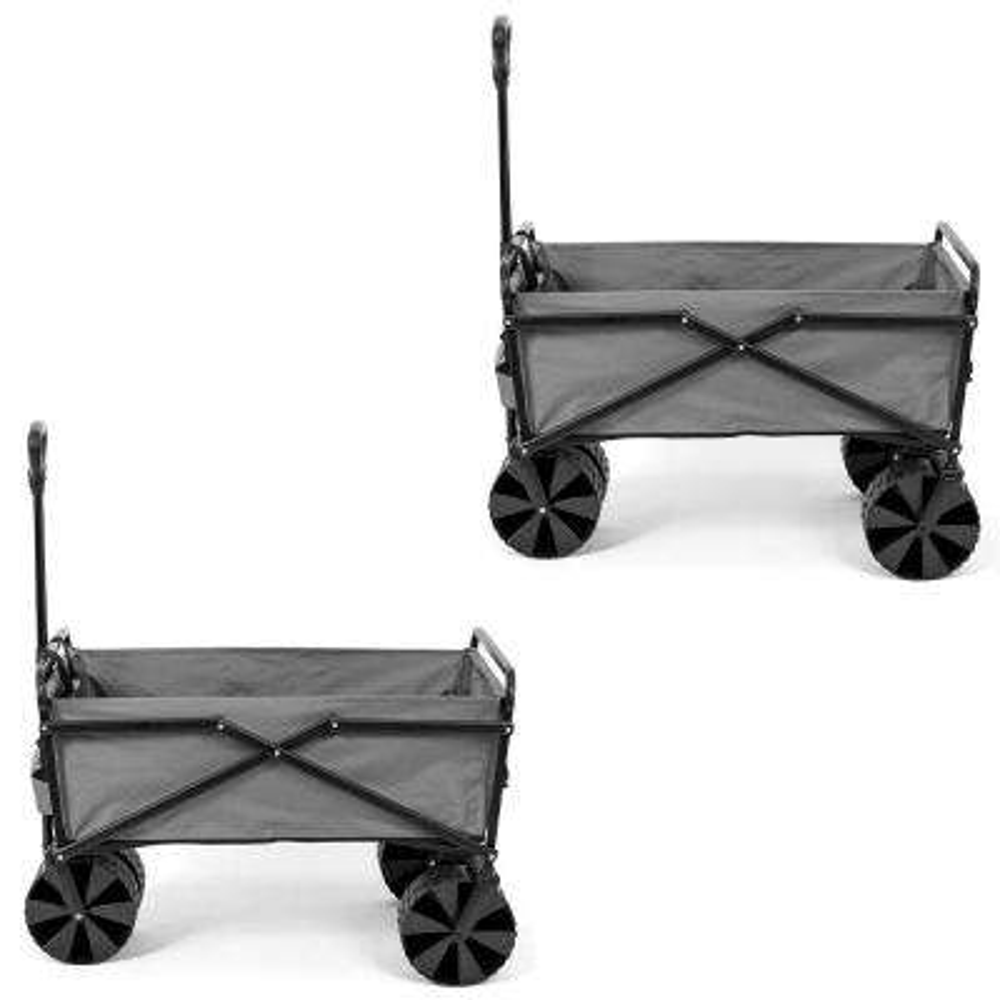 Steel Frame Folding Utility Beach Wagon Cart in Gray (2-Pack)