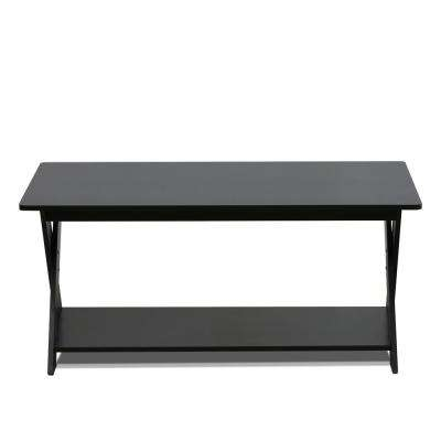 Modern Simplistic Espresso Criss-Crossed Coffee Table