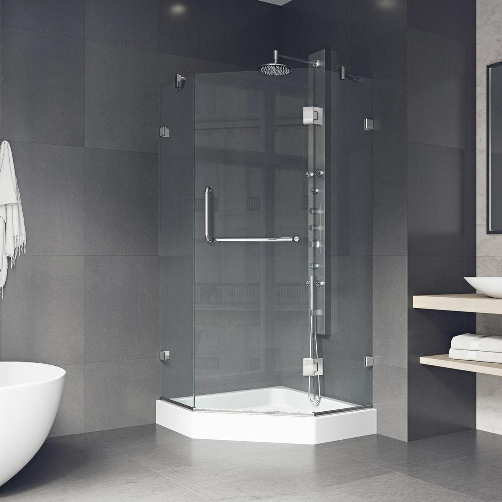 VIGO Piedmont 38.125 in. x 78.75 in. Frameless Neo-Angle Shower ...